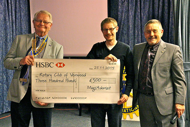 mags4dorset presents cheque to Verwood Rotary Club