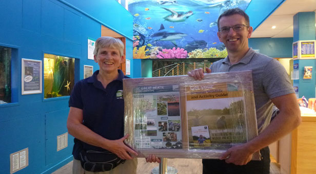 DWT's Nicky Hoar (from the Great Heath project) and Oliver Buttling from the Oceanarium © The Oceanarium