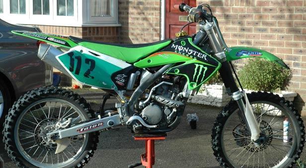 The stolen Kawasaki KXF 250 motorcross bike