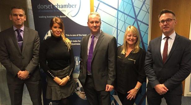 Left to right:Andrew Singleton,Kim Clayton (membership executive for DCCI),Ian Girling ,Alexandra Eaton (vice chair of the BPA) andRoger Wareham (treasurer of the BPA)