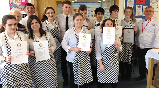 Ferndown Upper School students taking part in the Rotary Young Chef competition