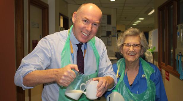 Chief Executive Officer Tony Spotswood with Mary Wrighton, Blue Coat volunteer, during the Ward 16 tea round on Friday 12 February