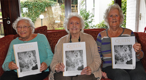 Royal celebration: Colten Care residents Mary Pyle (centre), Valerie Bull (left) and Margaret Johnson with the royal souvenir