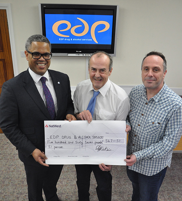 Nick Douch (left) with EDP mentors Malcolm White and Steve Edmondson