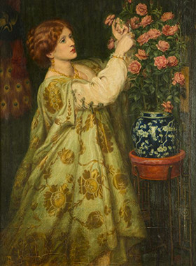 Monna Rosa by Rossetti: it shows Mrs Leyland arranging flowers in a vase that is still owned by the family