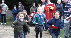 Pancake day races in Wimborne