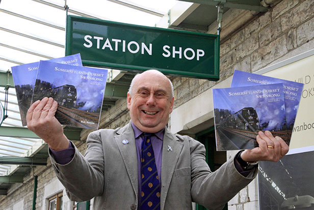 Bob Bunyar with his new book at Swanage station