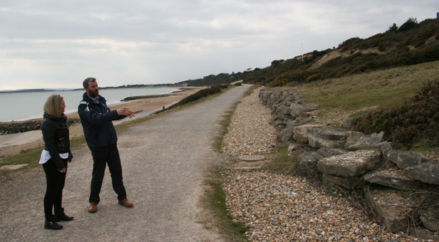 Matt Reeks and Cllr Vicki Hallam looking at one of the potential sites for the beach huts.