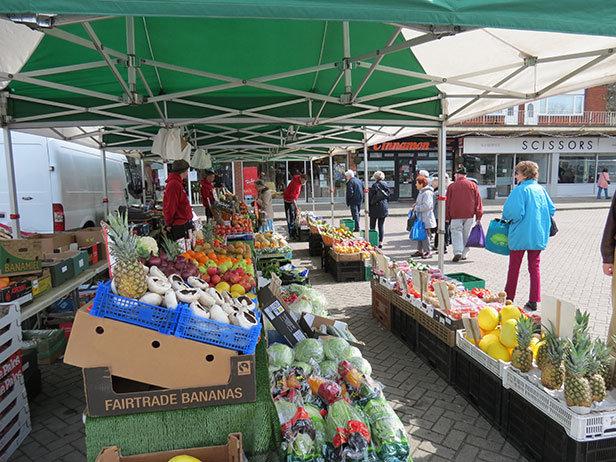 Fruit and veg stall at Ferndown market