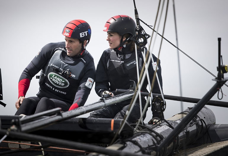 Flying high The Duchess of Cambridge sails with Sir Ben Ainslie and the British America's Cup Challenger on the Solent