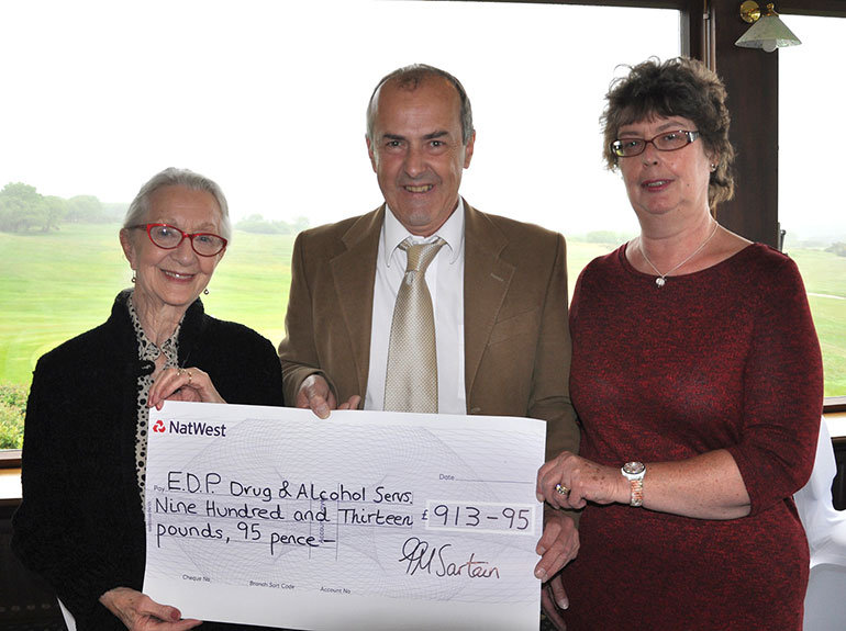 Thelma Barlow with Malcolm White and Judith Podd from the EDP charity