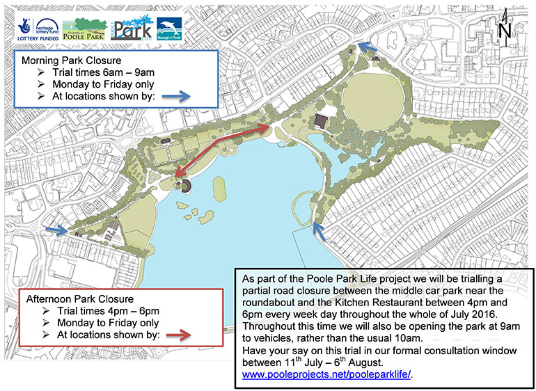 Poole Park road closure map