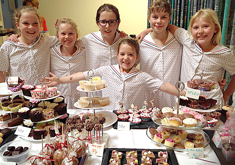 Talbot Heath's young bakers included (from left) Lexie Granville, Millie Sleeman, Alice Hann, Mya Granville, Lauren Williams and Bella Rowley