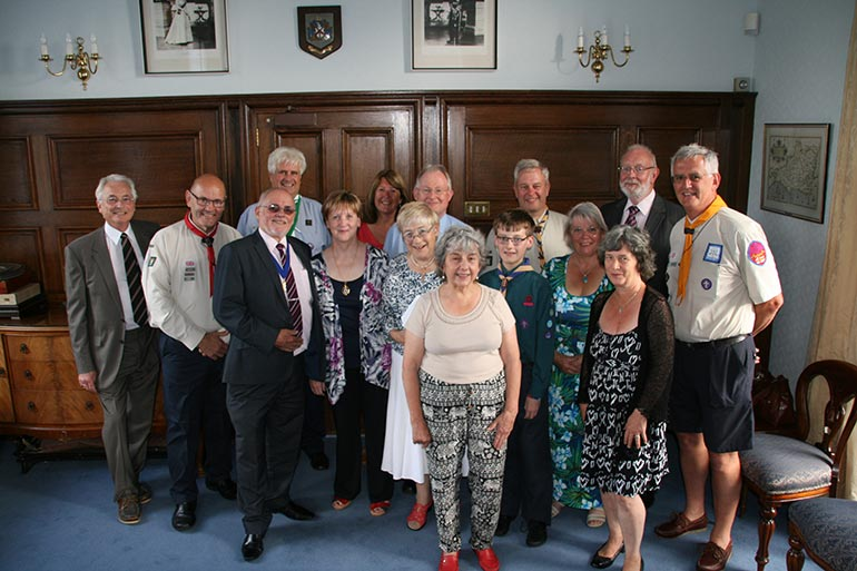 Cllr Frederick Neale with recipients of cheques