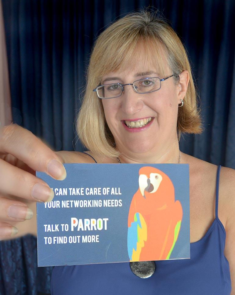 Parrot networking, Lorna Trent