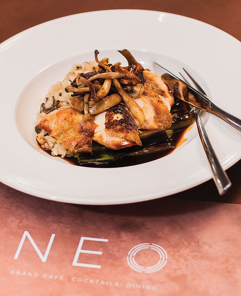 Sauteed-corn-fed-chicken-breast-wild-mushrooms,-lemon-thyme-risotto-and-charred-leeks