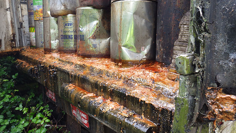 illegal waste cooking oil storage and processing plant in Dorset
