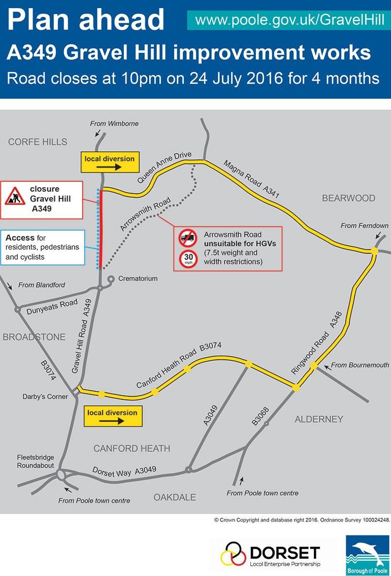 A349 Gravel Hill improvement works map
