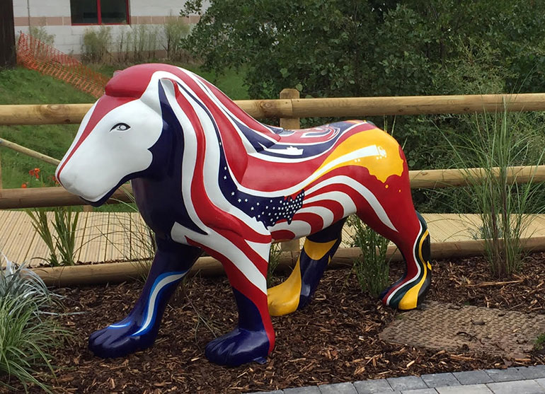 Britania the lion takes pride of place in the the orchard garden at the Royal Bournemouth Hospital