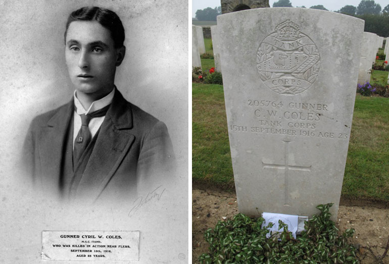Left: Cyril Coles pictured on the church plaque. Right: Cyril Coles war memorial grave stone