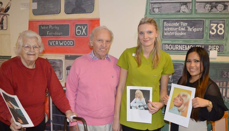 (From l-r): Residents Anne and Brian with Waypoints Verwood's activities co-ordinator Emilia Tubisz and head of care Cristy Jones