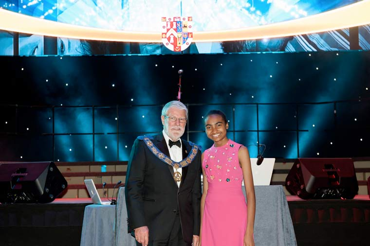 Over £7.7M raised by Freemasons: Mike Wilks pictured with Jasmine Elcock after the announcement at the BIC