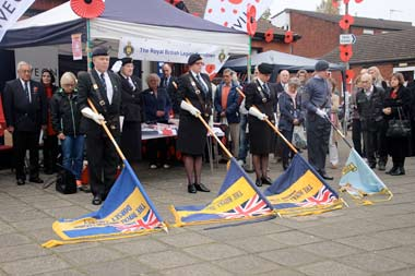 Standard Bearers observing two minutes silence