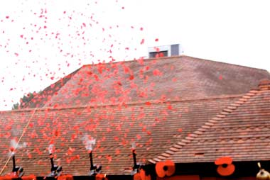 Poppy explosion over the roof of the Barrington Theatre in Ferndown