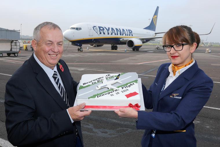 Ryanair's inaugural flight from Bournemouth to Krakow celebrated. Paul Knight with Lucia Rybova, Ryanair Base Supervisor