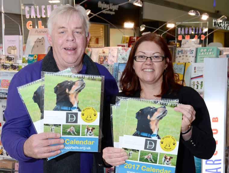 Paul Chapman of Waggy Tails with Lisa King of the Dolphin Shopping Centre