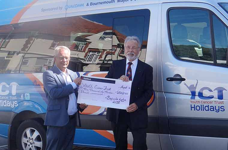 Michael J Turner (right) presenting a cheque to Derek Smith from Youth Cancer Trust.