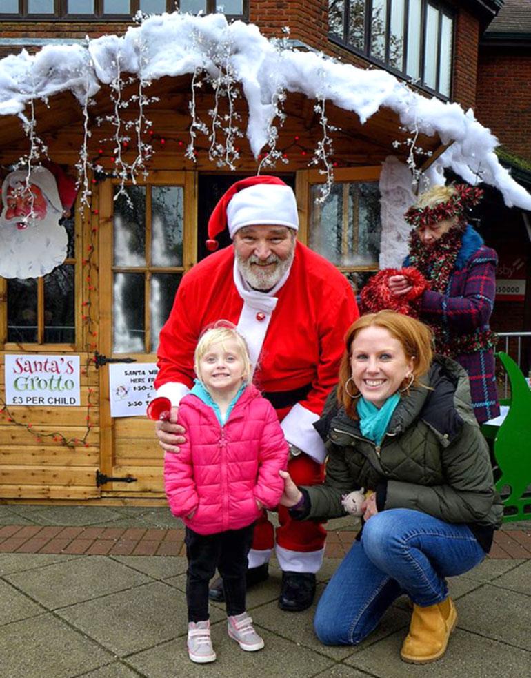 Santa meets Ellie and her Mum from Ferndown