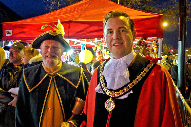 Ferndown Town Crier with the Mayor preparing for the countdown