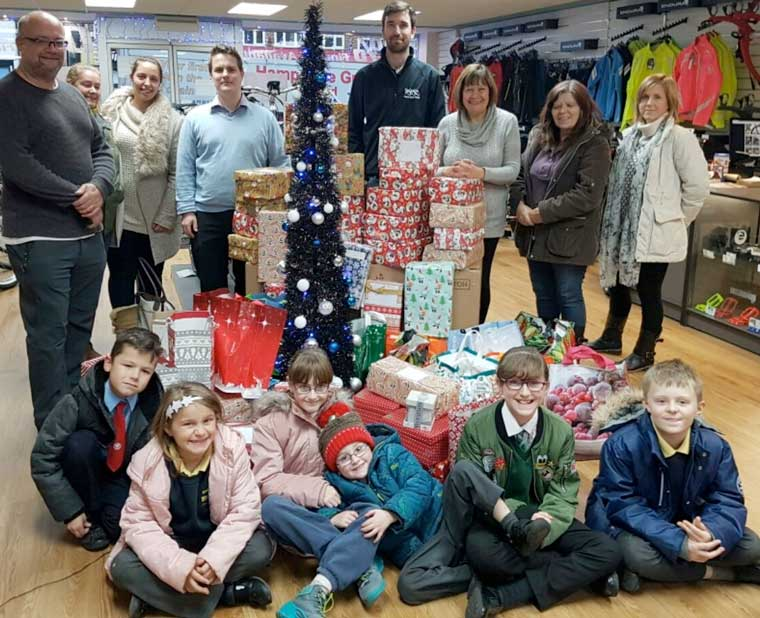 Shoebox Appeal for the homeless. Cllr Steve Lugg pictured far left