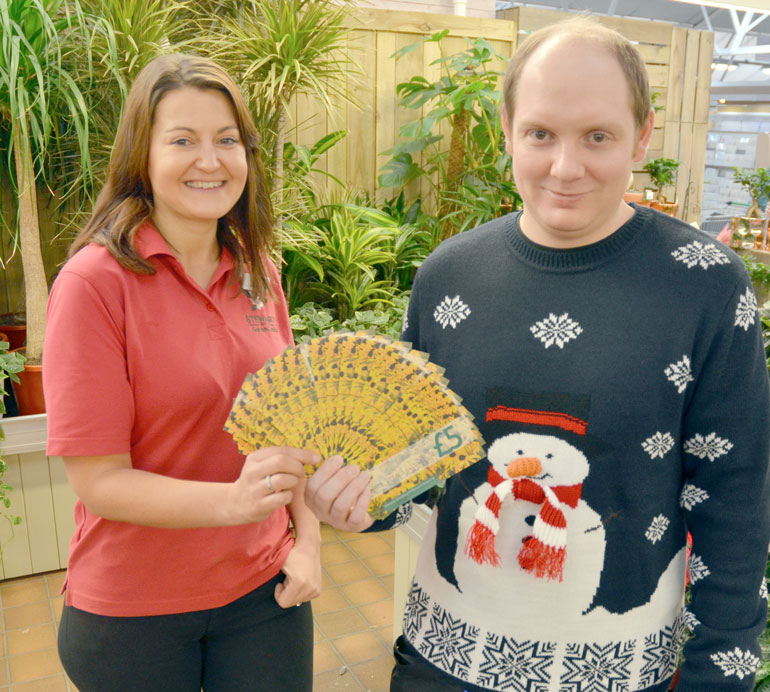 Zoe Home with Stewarts voucher winner David Reynolds