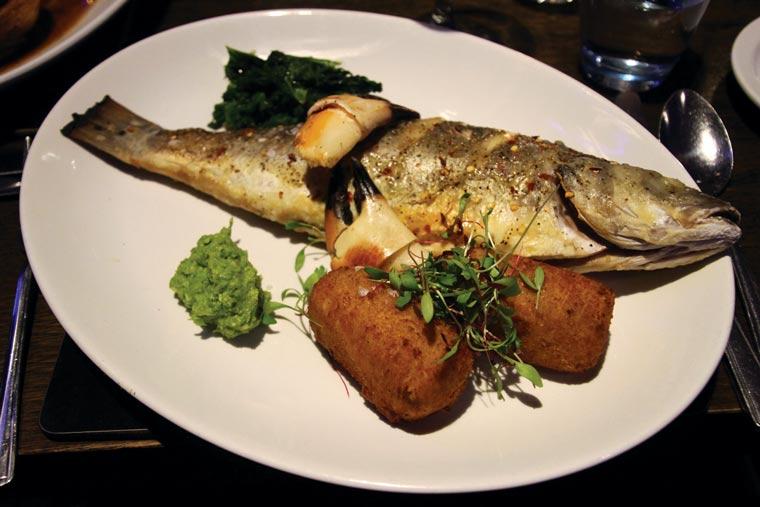Whole roast Mudeford sea bass