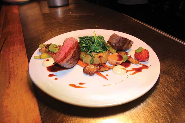 Pan-Roasted Venison with Oyster Mushrooms and Glazed Root Vegetables, Truffled Parsnip Purée and Port Jus, West Beach