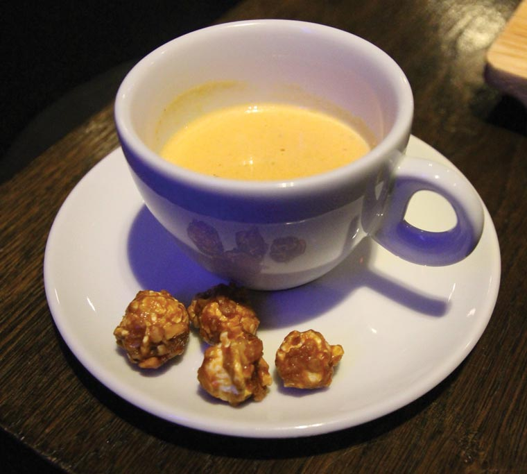 Amuse Bouche of Thai Curry Soup and Caramel Popcorn
