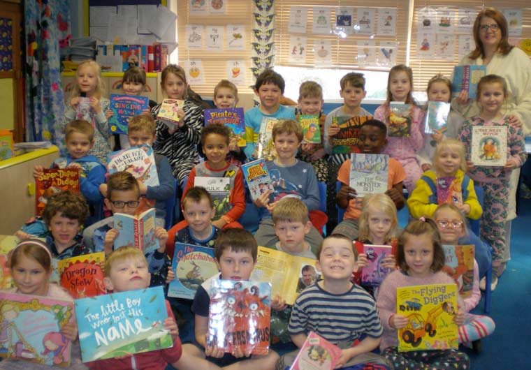 School uniform was swapped for pyjamas by the pupils and staff of Hillside Community First School in Verwood to help celebrate World Book Day.