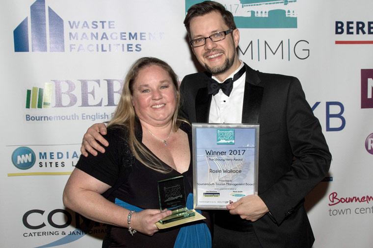 Rosie Wallace of the Marsham Court Hotel receives the unsung hero title at this year's Bournemouth Tourism Awards.