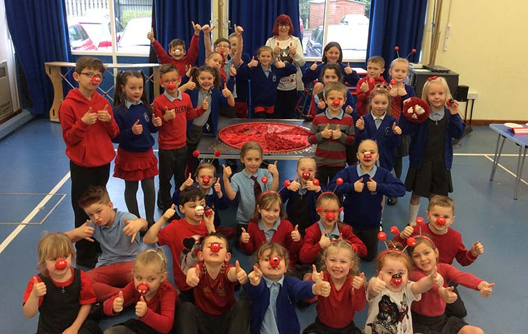 Thumbs up for Red Nose Day – children at Hillside School in Verwood