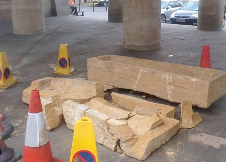 Roman sarcophagus vandalised in Dorchester
