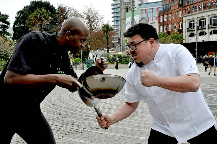Bournemouth Food & Drink festival has celebrity rivals battling it out in the People's Kitchen