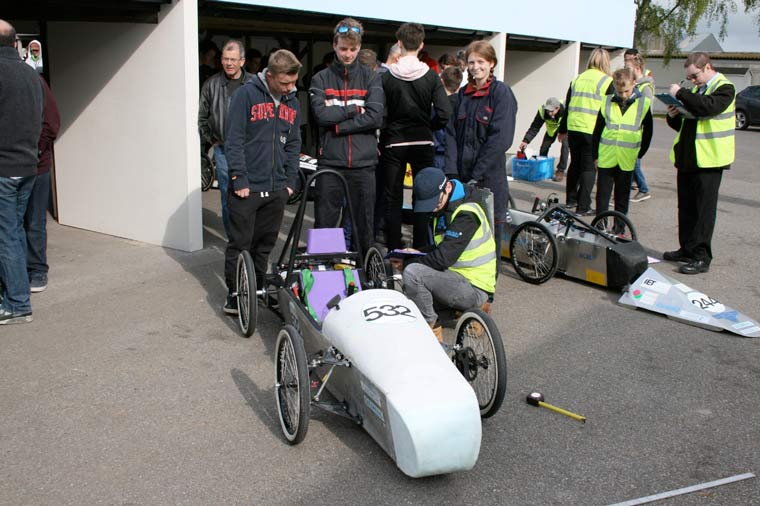 Bournemouth and Poole students test Greenpower car at Goodwood test day
