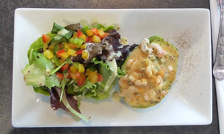 Baked avocado with prawns at Spikes Bistro