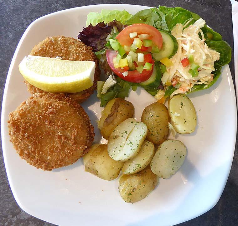 Salmon and broccoli fishcakes at Spikes Bistro