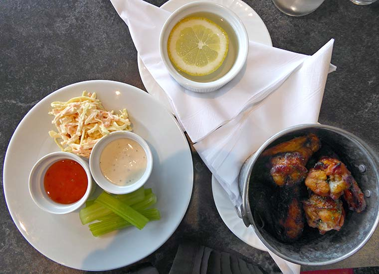 Sweet chilli chicken wings at Spikes Bistro