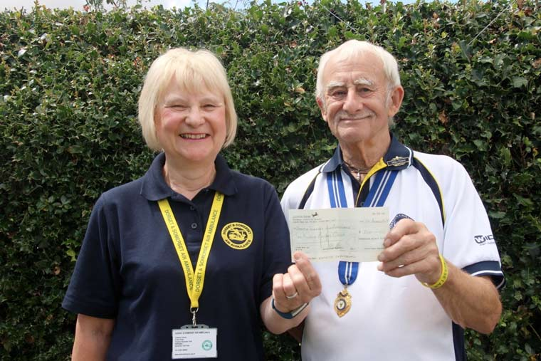 Ferndown Bowls Club Present £200 to Dorset and Somerset Air Ambulance