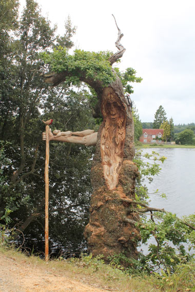Chance to name his newly carved green man tree sculpture