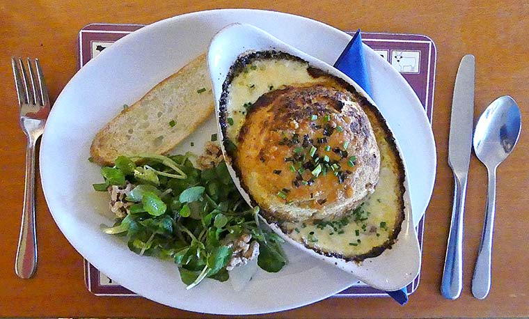 Cheese soufflé with watercress, pear and walnut salad